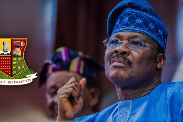 Governor Ajimobi wearing blue native