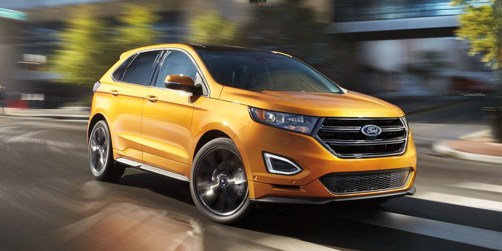 orange Ford edge suv